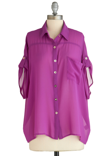 Sample 2126 - Purple, Solid, Buttons, Crochet, Party, Casual, Short Sleeves