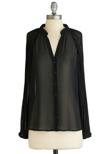 Sample 2130 - Black, Solid, Buttons, Pleats, Long Sleeve