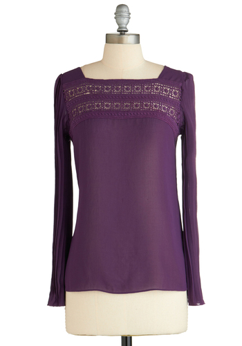Sample 2131 - Purple, Solid, Lace, Casual, Long Sleeve