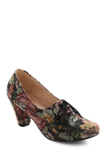 Bloom and Board Heel by Chelsea Crew - Multi, Floral, Mid, Lace Up, Casual, French / Victorian, Fall, Steampunk, Folk Art, Top Rated