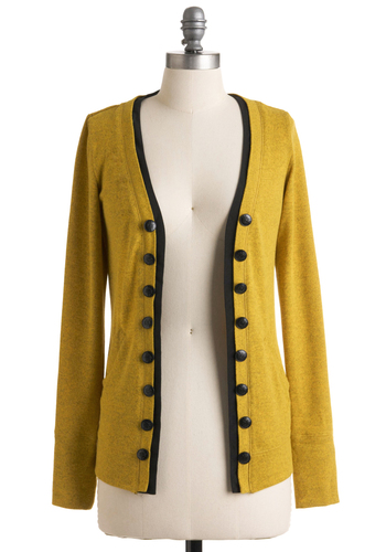 Fine and Dandelion Cardigan - Yellow, Black, Solid, Buttons, Long Sleeve, Trim, Casual, Winter, Mid-length