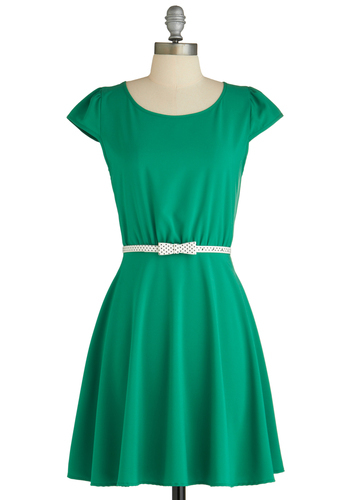 Drive-in Diva Dress - Green, Mid-length, Solid, Cutout, Belted, Casual, A-line, Cap Sleeves, Summer, Exclusives