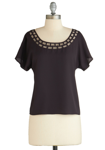 Sample 2134 - Purple, Solid, Cutout, Casual, Short Sleeves