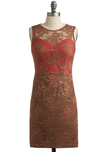 Elegant Embers Dress - Brown, Lace, Sheath / Shift, Sleeveless, Special Occasion, Prom, Vintage Inspired, Red, Floral, Cutout, 60s, Short