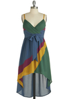 Swept Up in Color Dress - Mid-length, Multi, Yellow, Green, Blue, Purple, Pleats, Belted, Party, Colorblocking, High-Low Hem, Spaghetti Straps, V Neck, Tis the Season Sale
