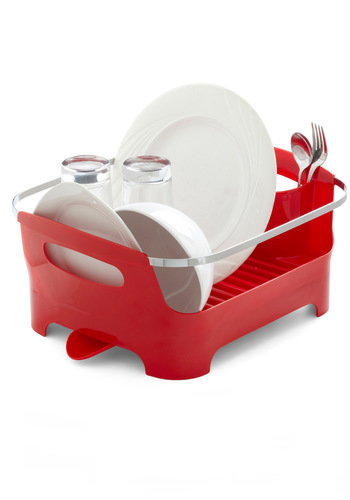 Chore I Can Dish Rack in Red - Red, Dorm Decor, Urban, Minimal, Solid