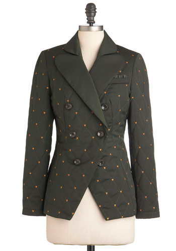 Dapper Den Jacket by Nishe - Green, Buttons, Embroidery, Long Sleeve, Solid, Casual, Fall, Double Breasted, 2, Mid-length, International Designer