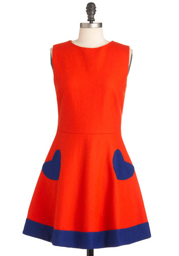 Heart of the Chatter Dress in Red-Orange by Nishe - Mid-length, Blue, Buttons, Party, Sleeveless, Fit & Flare, Solid, Fall, Orange, Pockets, Neon, International Designer
