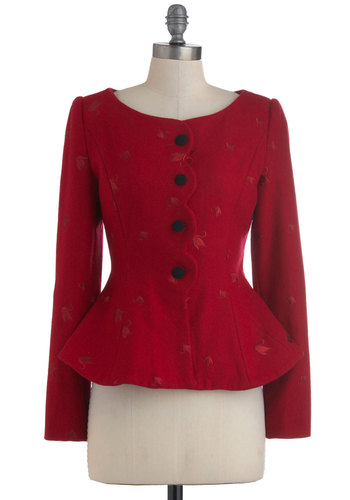 Fancy Your Chances Blazer - Mid-length, Red, Black, Buttons, Scallops, Long Sleeve, 2, Solid, Bows, Embroidery, Fall, Steampunk, Holiday Party, Peplum, International Designer
