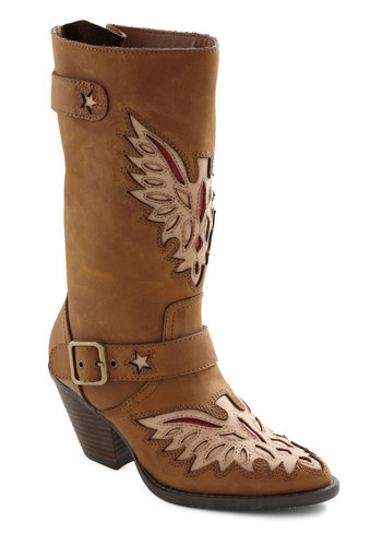 Eagle Ease Boot - Brown, Red, Tan / Cream, Buckles, Cutout, Casual, Rustic, Fall, Leather, Mid, Holiday Sale