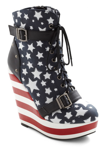 Stars and Straps Wedge - Wedge, Red, Blue, Black, White, Print, Buckles, Party, Statement, Faux Leather, Platform, Lace Up, High