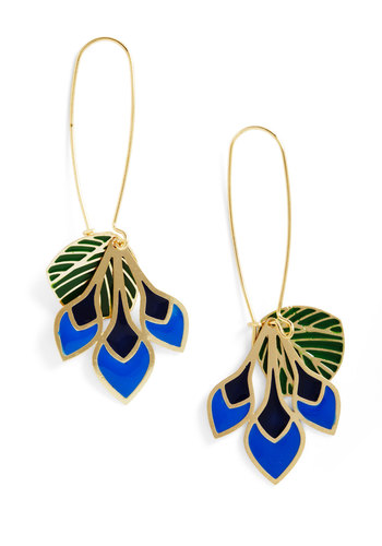 Feathers of Fancy Earrings - Multi, Boho, Green, Blue, Gold, Party, 20s, Gold, Beach/Resort