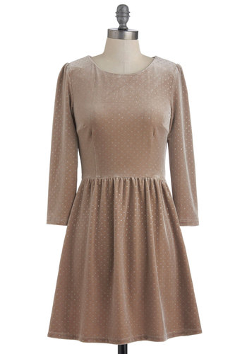 Shine On Dress - Short, Tan, Party, Long Sleeve, Glitter, A-line, Fall, Silver, Polka Dots, 90s