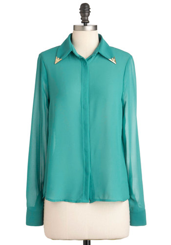 Give You a Tip Top - Blue, Solid, Long Sleeve, Mid-length, Gold, Sheer, Button Down, Collared