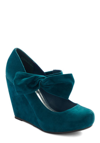 Rules of the Bowed Wedge in Teal - Blue, Solid, Bows, High, Wedge, Casual, Platform, Mary Jane