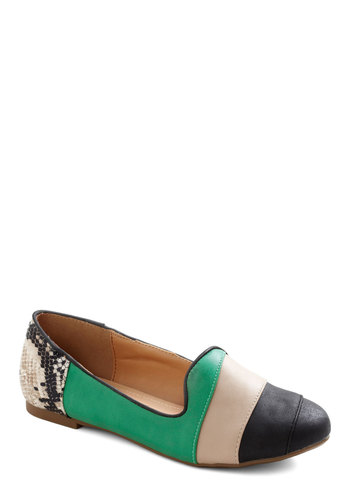 Serpent Circumstances Flat - Green, Multi, Animal Print, Casual, Flat, Menswear Inspired