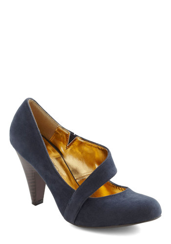 Career Crossover Heel in Blue - Blue, Solid, High, Work, Faux Leather, Mid, Variation