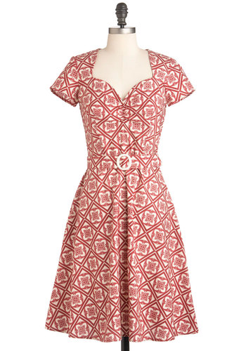 Give It a Restoration Dress - Long, Belted, Fit & Flare, Short Sleeves, White, Print, Red, Vintage Inspired, Red, Cotton, Daytime Party, 40s, 50s