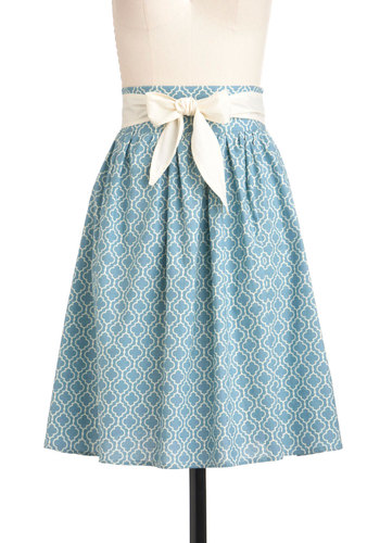 Designer Dreams Skirt in Tile - Mid-length, Blue, Belted, Casual, A-line, White, Print, Summer, Pastel, Spring, Vintage Inspired, 50s, Cotton, Woven