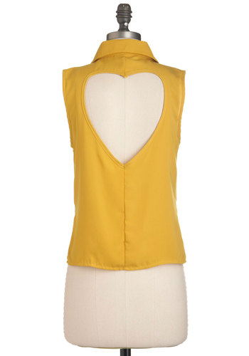 Squeeze-y Does It Top - Yellow, Solid, Buttons, Cutout, Sleeveless, High-Low Hem, Short, Casual, Quirky, Button Down, Collared