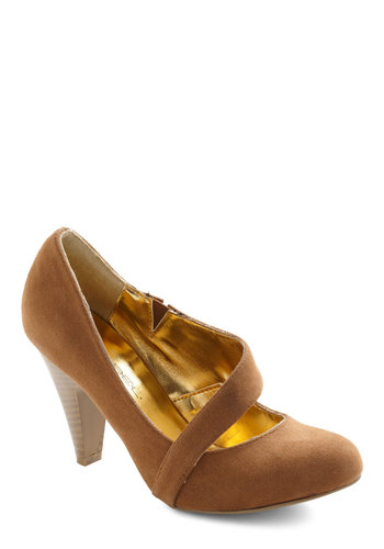 Career Crossover Heel in Sienna - Tan, Solid, High, Work, Faux Leather, Mid, Variation