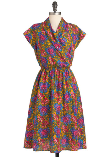 Tea Shoppe Dress - Long, Multi, Red, Orange, Blue, Purple, Floral, Pockets, Casual, Fit & Flare, Short Sleeves, A-line, Spring, Folk Art, Exclusives, Tis the Season Sale