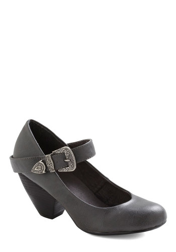 Student of Chic Heel in Grey - Grey, Solid, Mid, Mary Jane, Chunky heel, Buckles, Casual, Fall