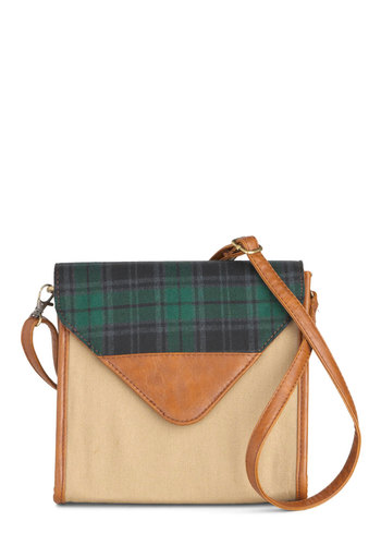 Plaid a Little Love Bag - Solid, Plaid, Casual, Scholastic/Collegiate