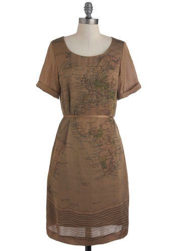 Atlas Hurrah Dress by Nice Things - Print, Casual, Shift, Short Sleeves, Belted, Mid-length, Brown, Travel, International Designer