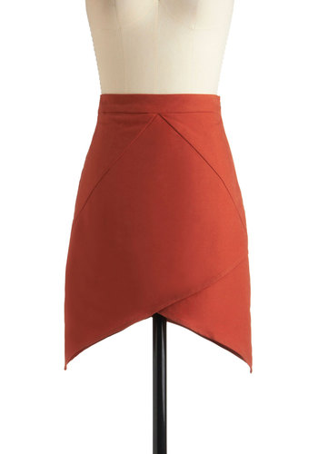 Know All the Angles Skirt - Short, Orange, Solid, Party, Mini, Fall