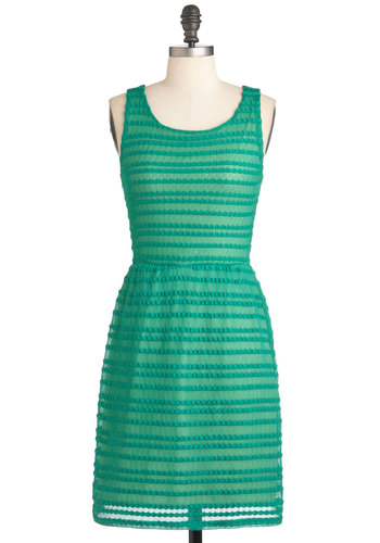 See What I Green? Dress - Mid-length, Green, Party, Shift, Sleeveless, Solid, Backless