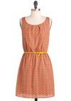 Parrot-ly So Dress - Short, Orange, Yellow, Green, Blue, Print with Animals, Cutout, Belted, Casual, A-line, Sleeveless, Coral