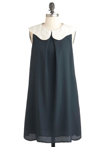Simplicity is Sweet Dress - Blue, Solid, Sheath / Shift, Sleeveless, Mid-length, White, Pockets, 60s, Mod, Collared, Variation