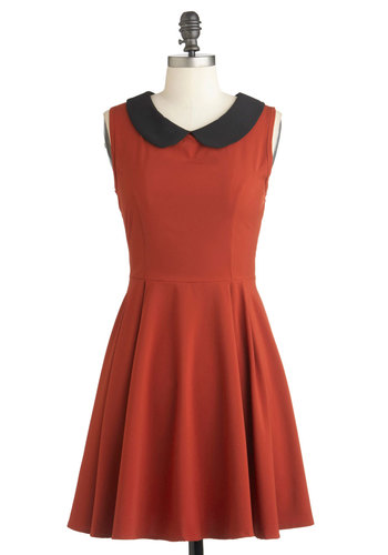 Fireside Glow Dress - Black, Solid, Peter Pan Collar, A-line, Sleeveless, Mid-length, Orange, Work, Vintage Inspired, Collared, Fit & Flare