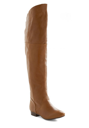 Ladies and Jaunts Boot - Tan, Solid, Casual, Fall, Leather, Low, Holiday Sale, Over the Knee