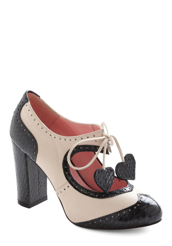 Heart Work and Dedication Heel in Black & White by Minna Parikka - Tan / Cream, Black, Tassels, Party, Vintage Inspired, Mid, Leather, Scholastic/Collegiate, Platform, Lace Up, Graduation, International Designer