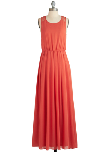Sunny State Dress - Long, Orange, Solid, Backless, Lace, Casual, Maxi, Sleeveless, Beach/Resort, Coral, Summer, Basic, Exclusives
