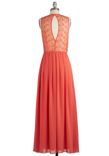 Sunny State Dress - Long, Orange, Solid, Backless, Lace, Casual, Maxi, Sleeveless, Beach/Resort, Coral