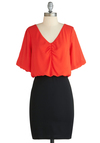 From Pillow to Billow Dress - Short, Orange, Black, Party, Twofer