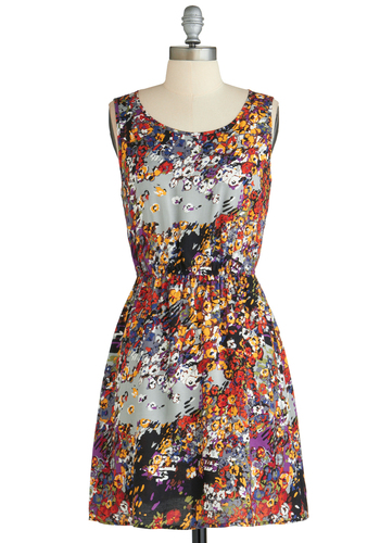 Color the Rain Dress - Multi, Casual, A-line, Sleeveless, Short, Multi, Print, Cutout, Summer, Daytime Party