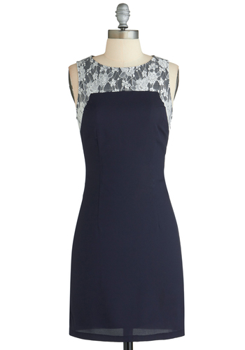 Cultivated Charmer Dress - Mid-length, Blue, White, Solid, Lace, Work, Shift, Sleeveless, Exclusives