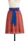 Not That Add Skirt - Mid-length, Green, Blue, White, Belted, Casual, A-line, Multi, Red, Print