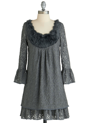 Sample 2144 - Grey, Black, Lace, Ruffles, Party, Sheath / Shift, Long Sleeve