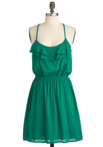 Backyard Barbecue Dress - Mid-length, Green, Solid, Ruffles, Party, Casual, A-line, Racerback, Summer, Sheer, Daytime Party