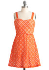 Tangible in Tangerine Dress - Short, Orange, White, Lace, Party, A-line, Tank top (2 thick straps), Summer, Sweetheart