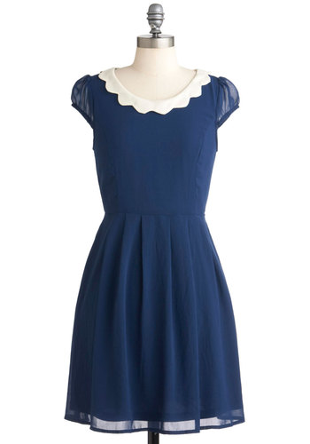 Blueberry Sweet Dress - Blue, Tan / Cream, Solid, Work, Casual, 50s, A-line, Cap Sleeves, Mid-length, Scholastic/Collegiate, Top Rated