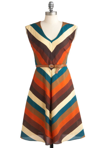 Know Every Angle Dress by Louche - Long, Stripes, Belted, Work, Casual, Vintage Inspired, 60s, 70s, Sleeveless, International Designer, Chevron, Variation