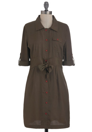 Cosmopolitan Chic Dress by Tulle Clothing - Short, Brown, Solid, Work, Casual, Safari, Shirt Dress, 3/4 Sleeve, Fall, Button Down, Collared