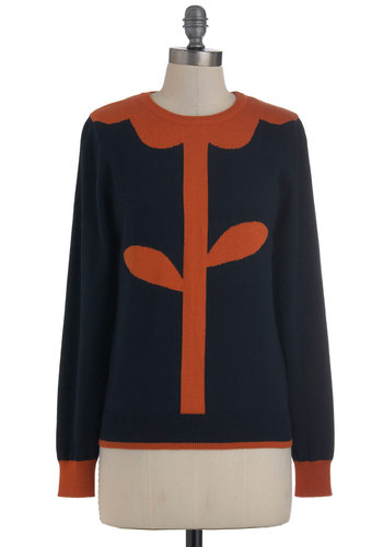 Everything's Coming Up Posy Sweater by Louche - Mid-length, Blue, Orange, Knitted, Long Sleeve, Casual, Quirky, International Designer, Travel