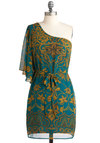 Imperial Gardens Dress - Blue, Gold, Print, Party, A-line, 3/4 Sleeve, One Shoulder, Spring, Belted, Mid-length